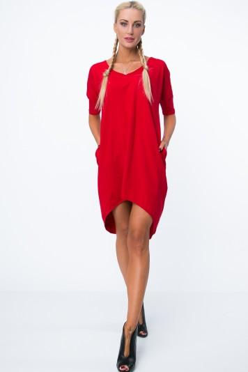 Dámske letné šaty s výstrihom v tvare písmena V, červené