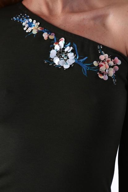 Dámske šaty s odhalenými ramenami, khaki