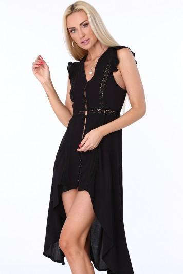 Sukienka zapinana na guziki czarna ZZ326