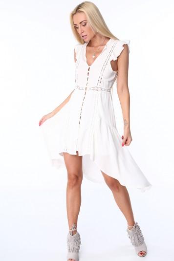Krémové dámske šaty s predĺženou zadnou stranou