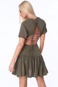 Khaki dámske šaty s väzbou na prednej a zadnej strane