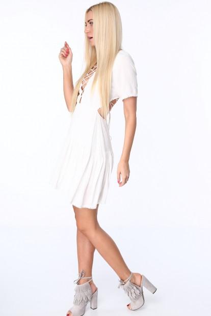 Krémové dámske šaty so šnurovaním na prednej a zadnej strane