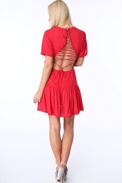 Dámske šaty so šnurovaním na prednej a zadnej strane, červené