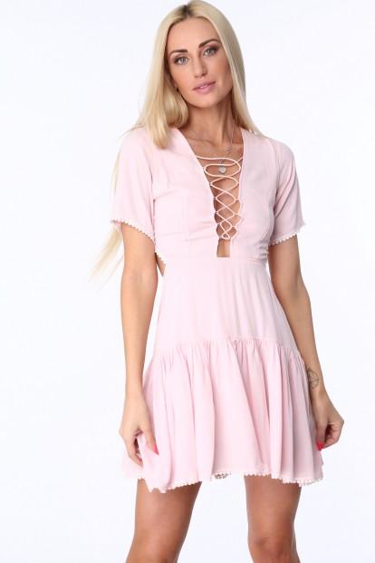 Ružové dámske šaty so šnurovaním na prednej a zadnej strane