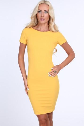 Žlté dámske šaty so zipsom na zadnej strane