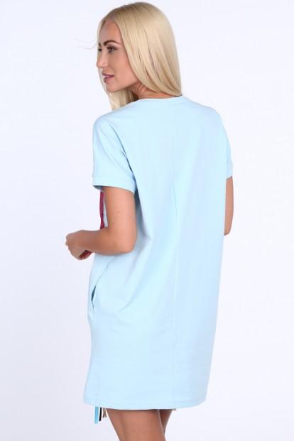 9be1d30aacf3e Modré dámske šaty s farebnou potlačou na prednej strane Veľkosť UNIW