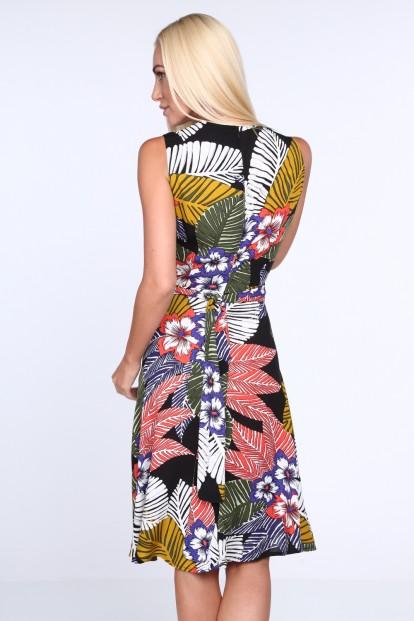 Čierne dámske šaty s kvetinovým vzorom