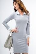 Bavlnené šaty s dlhým rukávom a stojačikom s V výstrihom, sivé