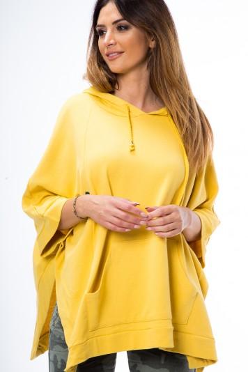 Žltá mikina asymetrického strihu s rozparkami na bokoch