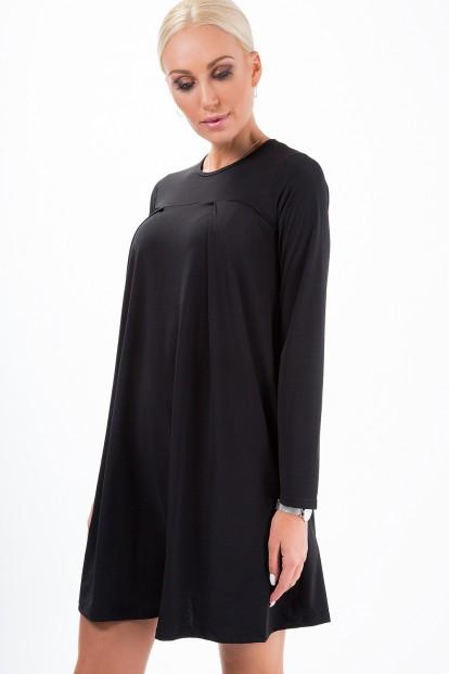Jednoduché, voľné, krátke šaty s dlhým rukávom, čierne