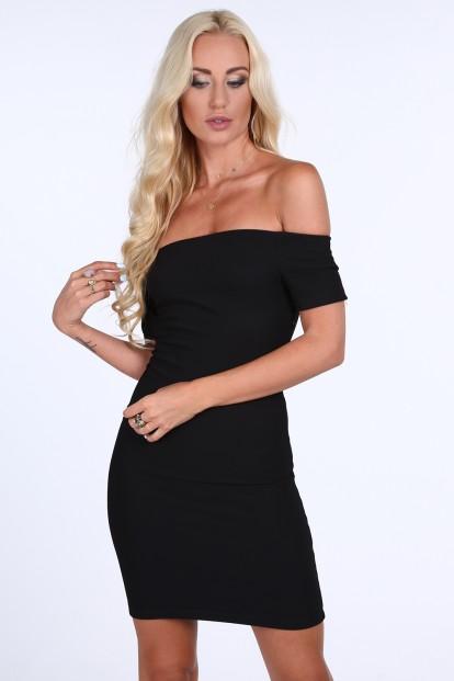 Dámske šaty s odhalenými ramenami, čierne