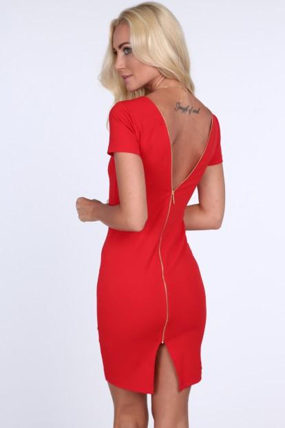 Dámske šaty so zipsom na zadnej strane, červené