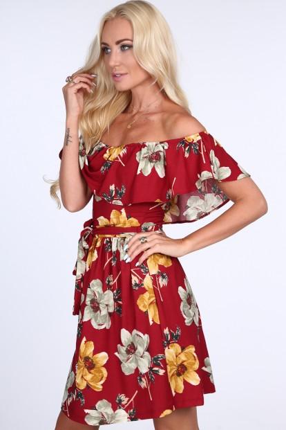 Kvetované dámske šaty s odhalenými ramenami, bordové