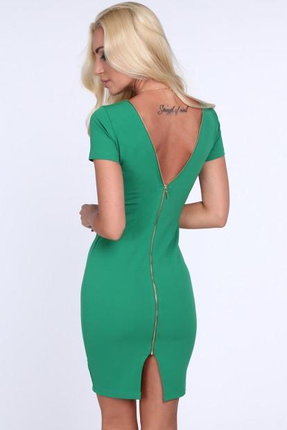 Zelené dámske šaty so zipsom na zadnej strane