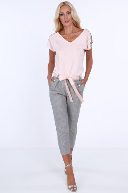 Dámske nohavice s kockovaným vzorom, svetlošedé