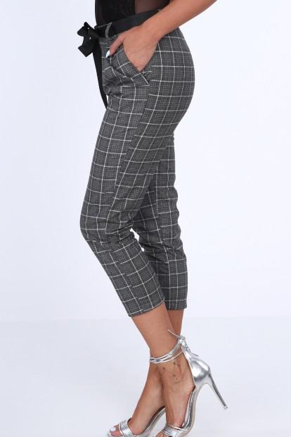 Dámske nohavice s kockovaným vzorom, tmavošedé