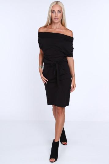 Krásne letné čierne šaty s viazaním okolo pásu