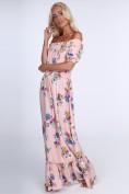 Dámske kvetinové šaty s odhalenými ramenami, svetloružové
