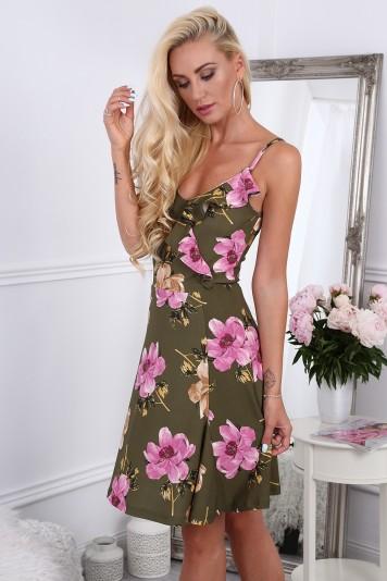 Khaki dámske kvetinové šaty s volánmi na výstrihu