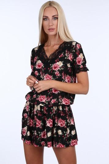 Čierne kvetinové dámske mini šaty s čipkou Veľkosť XL 64cf9ea9c38