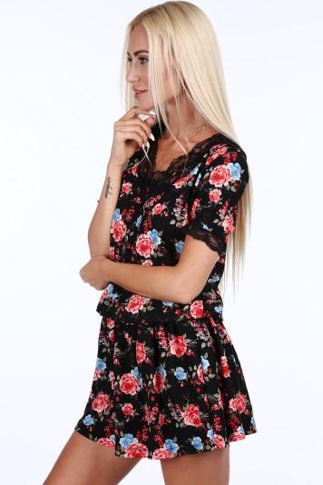 01f43ef7fe2e Čierno-modré kvetinové dámske mini šaty s čipkou Veľkosť L