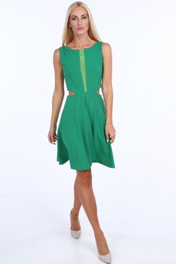 Zelené dámske šaty so šifónom Veľkosť L 5bd48f7265