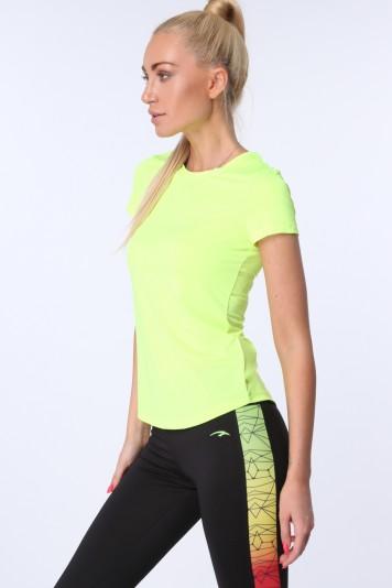Žlté dámske športové tričko s krátkymi rukávmi