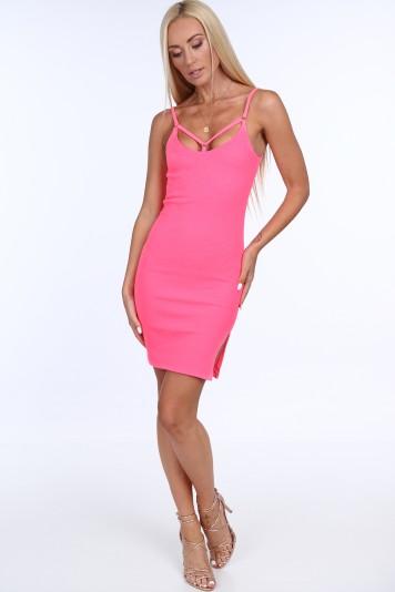 Ružové dámske šaty s tenkými ramienkami