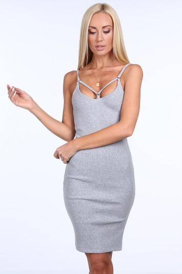 Svetlosivé dámske šaty s tenkými ramienkami