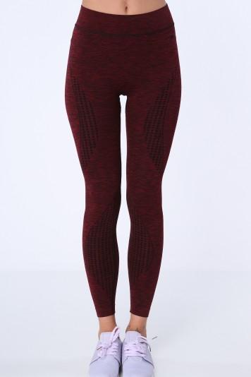 Bordové dámske športové legíny so vzorom na stehnách