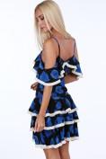 Čierno-modré dámske šaty s motívom vlčieho maku