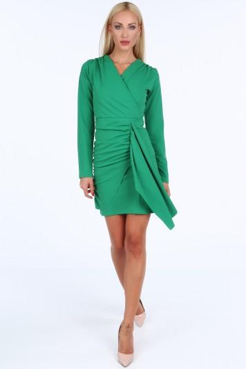 Zelené krátke letné dámske šaty s dlhými rukávmi