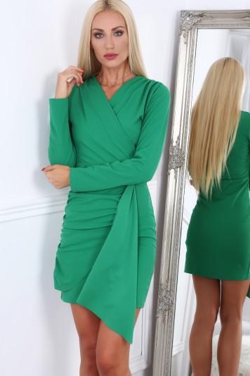 11f12fb56c8c Zelené krátke letné dámske šaty s dlhými rukávmi Veľkosť XL