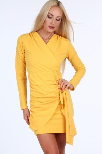 Žlté krátke letné dámske šaty s dlhými rukávmi