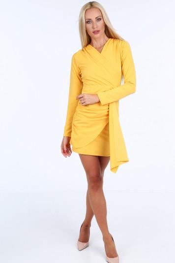 887844dd3d54 Žlté krátke letné dámske šaty s dlhými rukávmi Veľkosť S