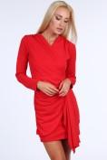 Červené krátke letné dámske šaty s dlhými rukávmi
