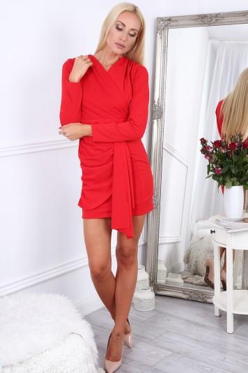 567ba5338 Červené krátke letné dámske šaty s dlhými rukávmi Veľkosť S