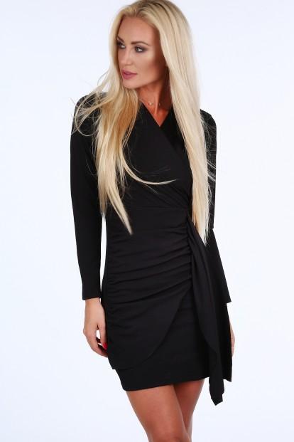 Čierne krátke letné dámske šaty s dlhými rukávmi