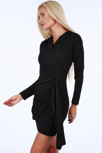 b419b503808d Čierne krátke letné dámske šaty s dlhými rukávmi Veľkosť S