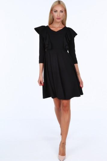 Čierne krátke dámske šaty s volánmi Veľkosť S f0e902ddc3f