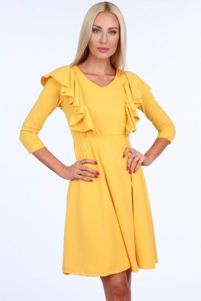 Žlté krátke dámske šaty s volánmi Veľkosť S 24cee824ea3