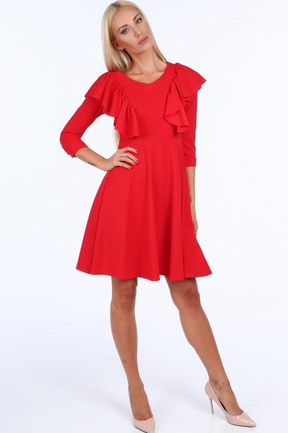 Červené krátke dámske šaty s volánmi