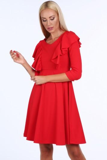 b6b7816c77a2 Červené krátke dámske šaty s volánmi Veľkosť L
