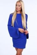 Modré dámske šaty s nadrozmernými rukávm