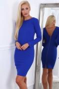 Modré dámske šaty so zlatým zipsom na zadnej strane