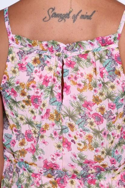 Dámske kvetinové šaty zo šifónu, ružové