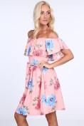 Kvetované dámske šaty s odhalenými ramenami, ružové