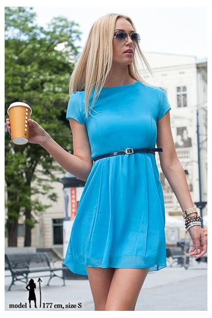 Šaty tyrkysové  s krátkym rukávom a opaskom