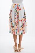 Letná, kvetovaná, smotanová midi sukňa v tvare A