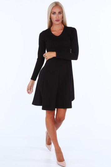 Čierne dámske šaty s okrúhlym výstrihom